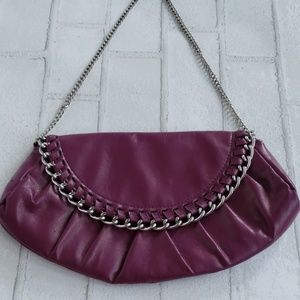 Purple Chain Accent Faux Leather Evening Clutch